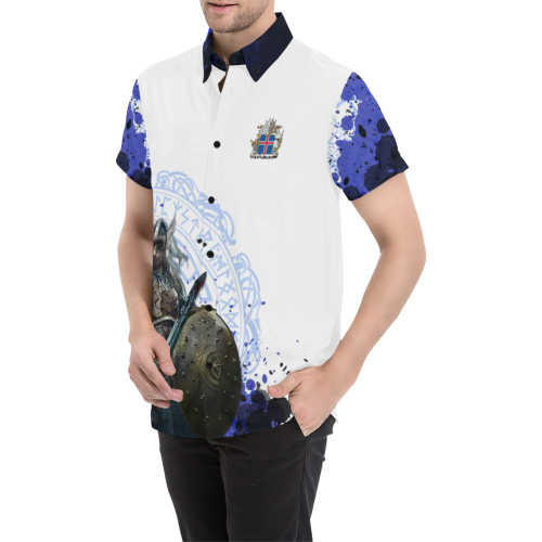 8363206a640 Iceland Viking Warrior World Cup 2018 Short Sleeve Shirt A5. Tap to expand
