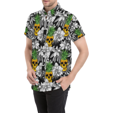 Image of SALE OFF,SALE,APPARELS,hawaiian,skull,HIBISCUS,PINEAPLLE,MEN'S SHORT SLEEVE SHIRT,shirt,MEN,HAWAII