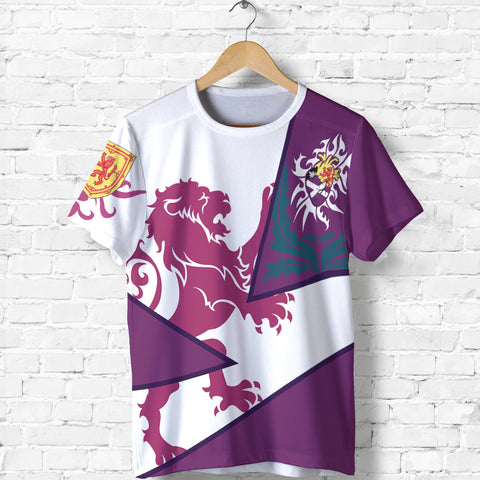Scotland T Shirt - Cottish Royal Lion 1990s - Purple - Front - for Men and Women