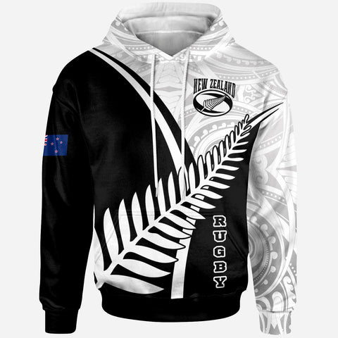 Image of New Zealand Rugby Hoodie - New Zealand Fern & Maori Patterns - BN22