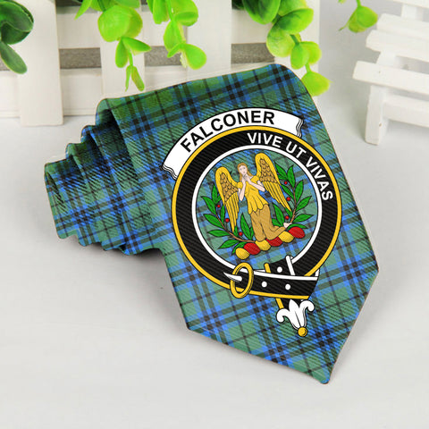 Falconer Tartan Tie with Clan Crest TH8