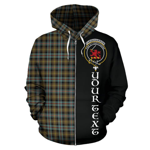 (Custom your text) Farquharson Weathered Tartan Hoodie Half Of Me | 1sttheworld.com