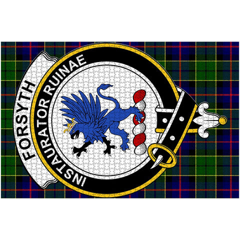 Image of Tartan Puzzle - Forsyth Clan Tartan Jigsaw Puzzle - BN