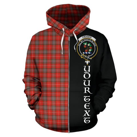 (Custom your text) Fraser Weathered Tartan Hoodie Half Of Me | 1sttheworld.com