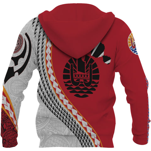 Image of Tahiti Zip Up Hoodie - Tahiti Map Generation IV Zip Up Hoodie - Red and White - Back - For Men and Women