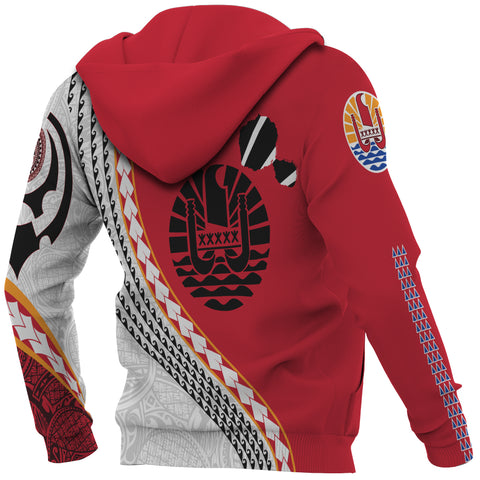 Image of Tahiti Zip Up Hoodie - Tahiti Map Generation IV Zip Up Hoodie - Red and White - Back and Sleeves - For Men and Women