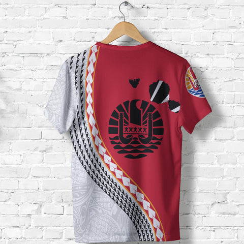 Image of Tahiti T Shirt - Tahiti Map T-Shirt Generation IV - Red and White - Back - for Men and Women
