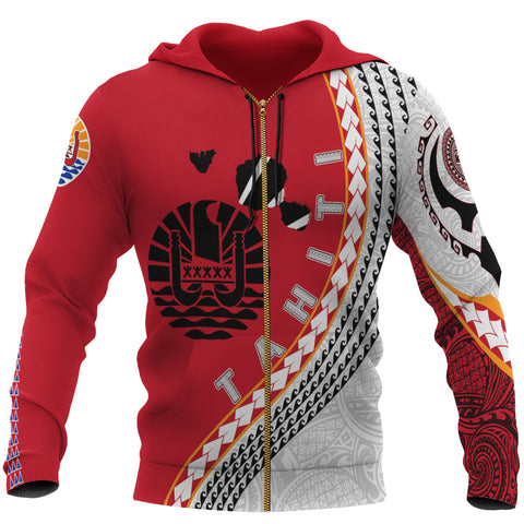 Image of Tahiti Zip Up Hoodie - Tahiti Map Generation IV Zip Up Hoodie - Red and White - Front - For Men and Women