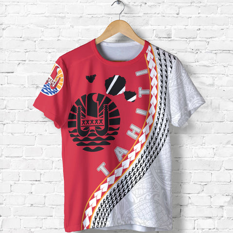 Image of Tahiti T Shirt - Tahiti Map T-Shirt Generation IV - Red and White - Front - for Men and Women