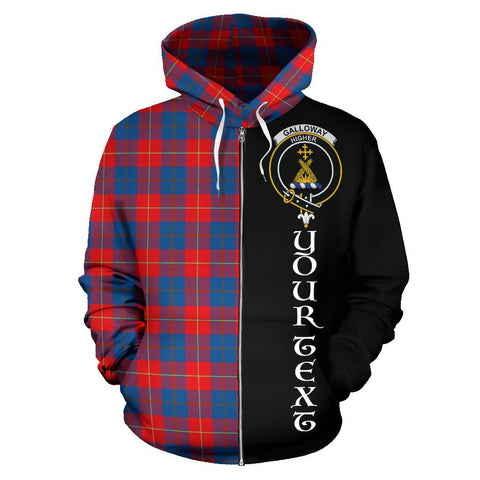(Custom your text) Galloway Red Tartan Hoodie Half Of Me | 1sttheworld.com