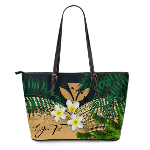 (Custom) Kanaka Maoli (Hawaiian) Leather Tote Bag, Polynesian Plumeria Banana Leaves Gold Personal Signature A02