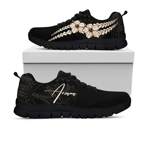Image of (Custom) Polynesian Sneakers Hibiscus Personal Signature Gold