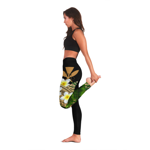Image of (Custom) Kanaka Maoli (Hawaiian) Leggings, Polynesian Plumeria Banana Leaves Gold Personal Signature A02