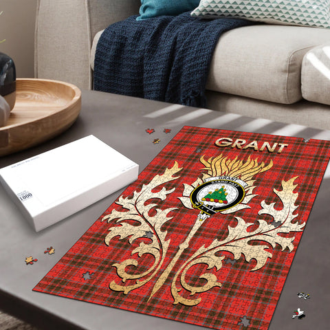 Grant Weathered Clan Name Crest Tartan Thistle Scotland Jigsaw Puzzle