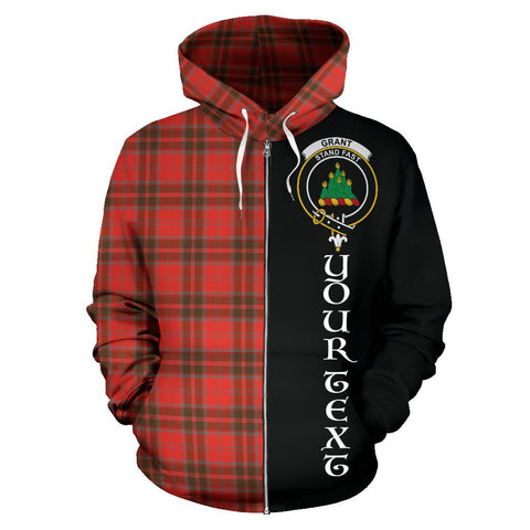 (Custom your text) Grant Weathered Tartan Hoodie Half Of Me | 1sttheworld.com