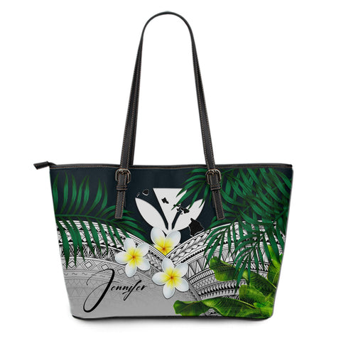 Image of (Custom) Kanaka Maoli (Hawaiian) Leather Tote Bag, Polynesian Plumeria Banana Leaves Gray Personal Signature A02