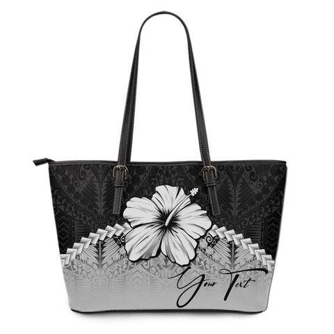 Image of (Custom) Polynesian Leather Tote Bag Hibiscus Personal Signature Gray A02