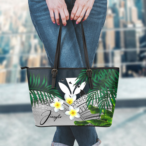 (Custom) Kanaka Maoli (Hawaiian) Leather Tote Bag, Polynesian Plumeria Banana Leaves Gray Personal Signature A02
