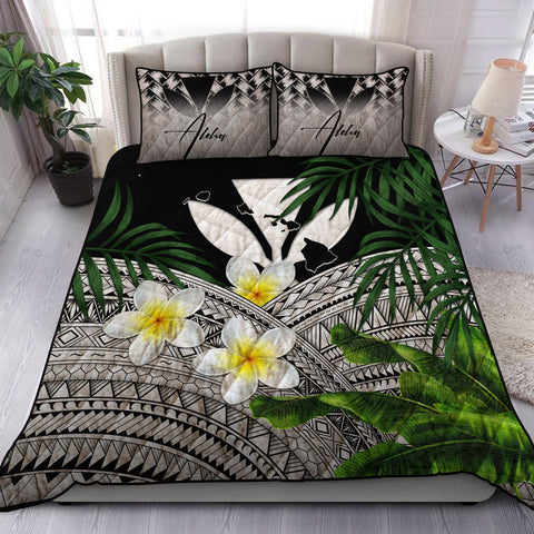 Image of (Custom) Kanaka Maoli (Hawaiian) Quilt Bed Set, Polynesian Plumeria Banana Leaves Gray Personal Signature A02