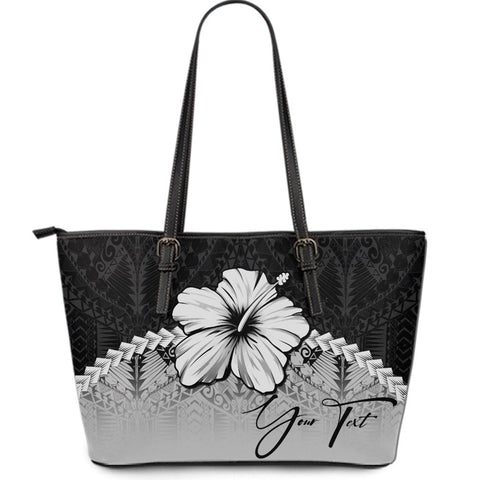 (Custom) Polynesian Leather Tote Bag Hibiscus Personal Signature Gray A02