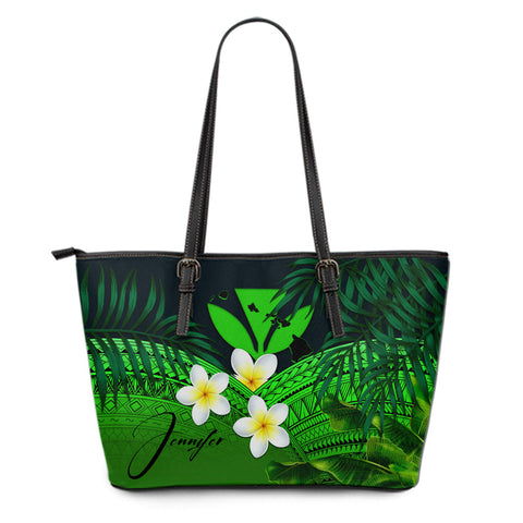 Image of (Custom) Kanaka Maoli (Hawaiian) Leather Tote Bag, Polynesian Plumeria Banana Leaves Green Personal Signature A02