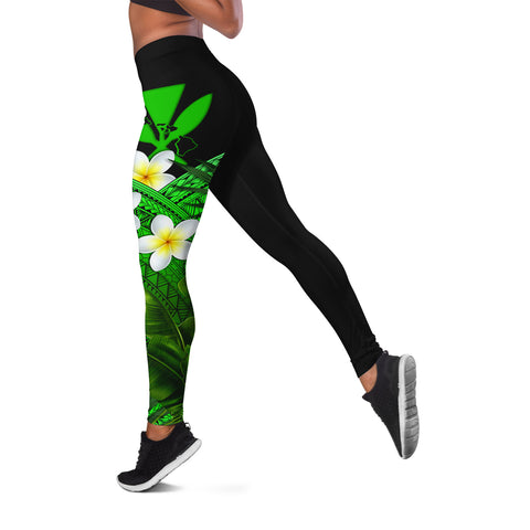 (Custom) Kanaka Maoli (Hawaiian) Leggings, Polynesian Plumeria Banana Leaves Green Personal Signature A02