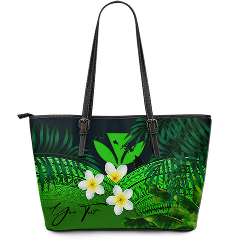 (Custom) Kanaka Maoli (Hawaiian) Leather Tote Bag, Polynesian Plumeria Banana Leaves Green Personal Signature A02