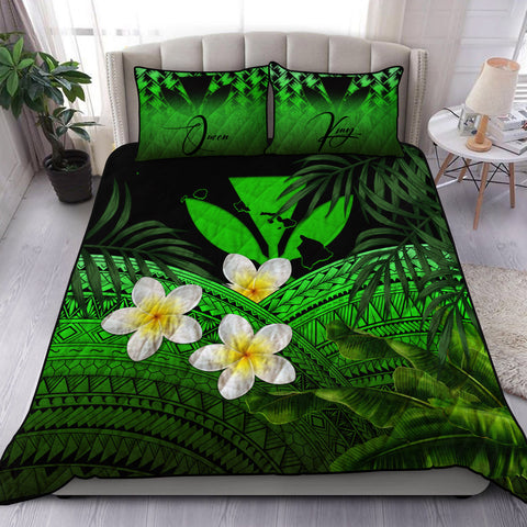 Image of (Custom) Kanaka Maoli (Hawaiian) Quilt Bed Set, Polynesian Plumeria Banana Leaves Green Personal Signature A02