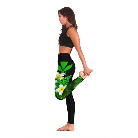 Image of (Custom) Kanaka Maoli (Hawaiian) Leggings, Polynesian Plumeria Banana Leaves Green Personal Signature A02