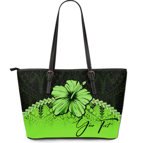(Custom) Polynesian Leather Tote Bag Hibiscus Personal Signature Green A02