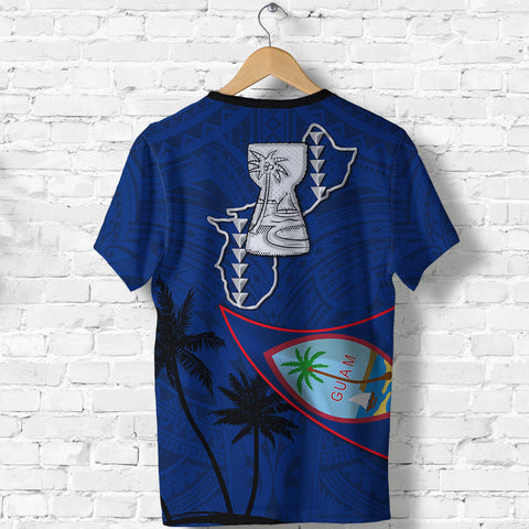 Guam Latte Stone T Shirt Flag Over Ocean K4