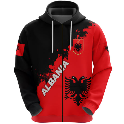 Albania Zip Hoodie Red Braved Version K12