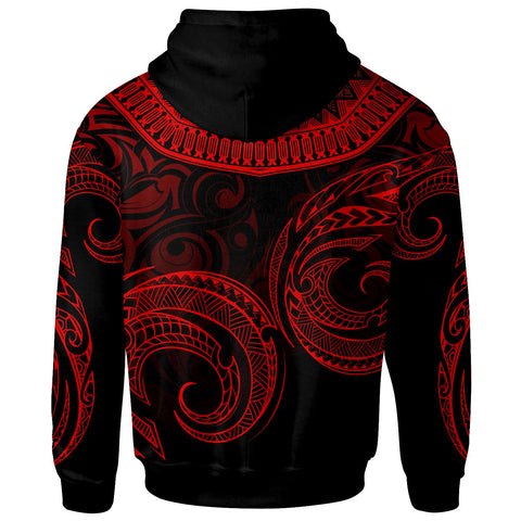 Cook Islands Zip Hoodie - Palm Leaf Texture Red - BN20
