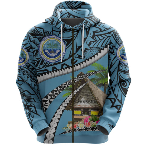 Image of Federated States of Micronesia Meeting House Zip Up Hoodie - Road to Hometown K8
