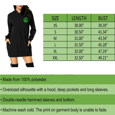 New Zealand Fern Hoodie Mini Dress A9 |Clothing| 1sttheworld