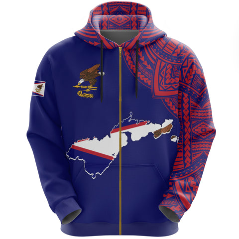 Image of American Samoa Map Special Zip Hoodie | Men & Women | High Quality