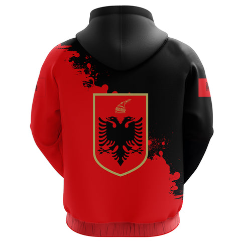 Image of Albania Zip Hoodie Red Braved Version K12