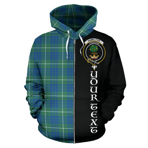 (Custom your text) Hamilton Hunting Ancient Tartan Hoodie Half Of Me | 1sttheworld.com