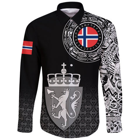 Viking Style Long Sleeve Button Shirt - Norway Coat Of Arms A31