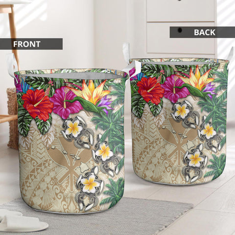 Image of Kanaka Maoli (Hawaiian) Laundry Basket - Hibiscus Turtle Tattoo Beige I Love The World