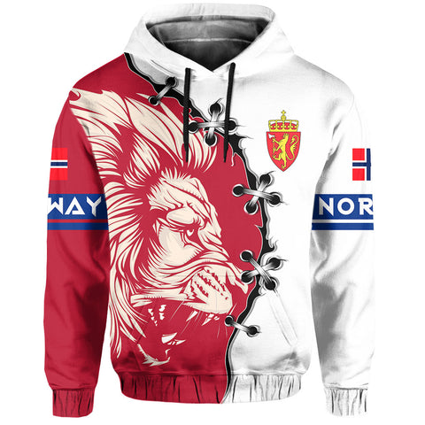 Norway Hoodie - Lion Coat Of Arms - Red