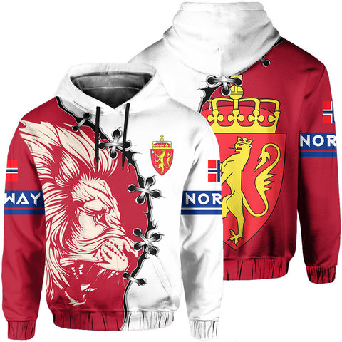 Norway Hoodie - Lion Coat Of Arms - Red | 1sttheworld