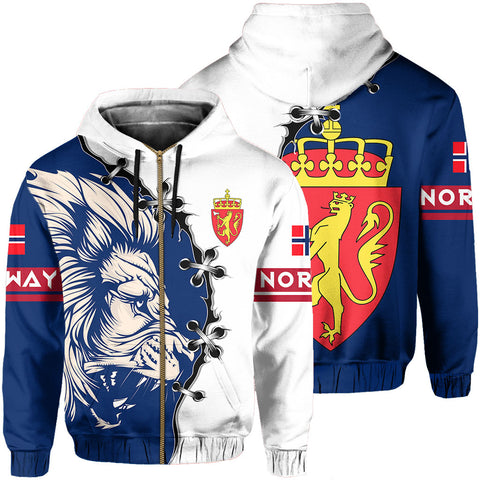 Norway Hoodie Zip - Lion Coat Of Arms | 1sttheworld
