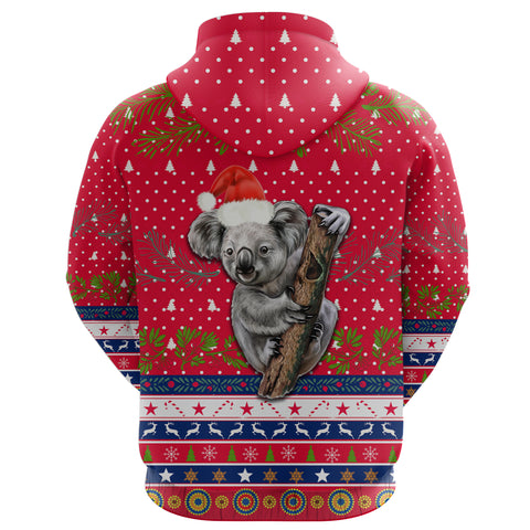 Australia Christmas Aboriginal Hoodie Koala Version Back | 1sttheworld