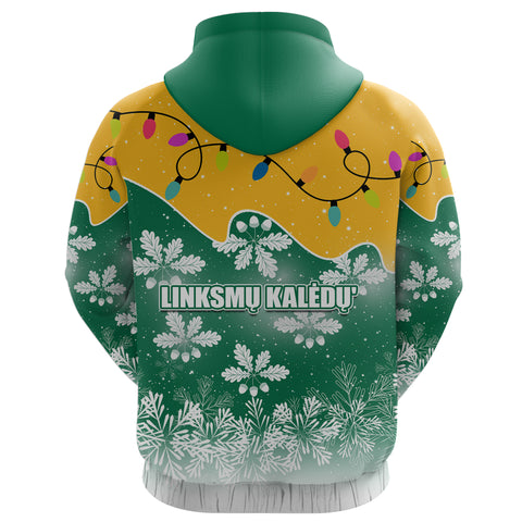 Image of Lithuania Christmas Zip Hoodie Oak Leaves - Lietuva Back | 1sttheworld