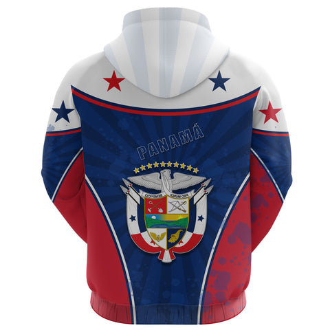 Panama Zip Hoodie Circle Stripes Flag Version Back | 1sttheworld.com