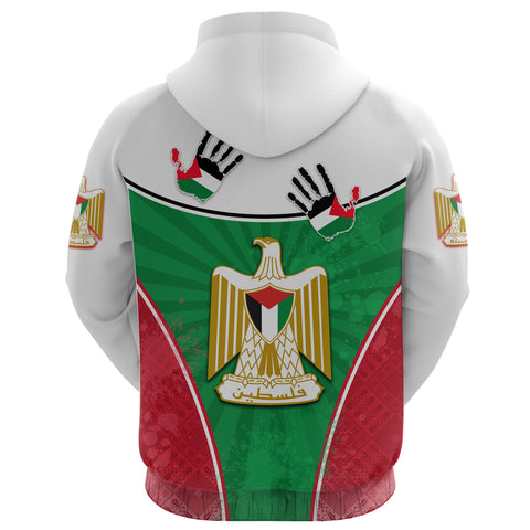 Image of Palestine Independence Hoodie Circle Stripes Flag Proud Version Back | 1sttheworld
