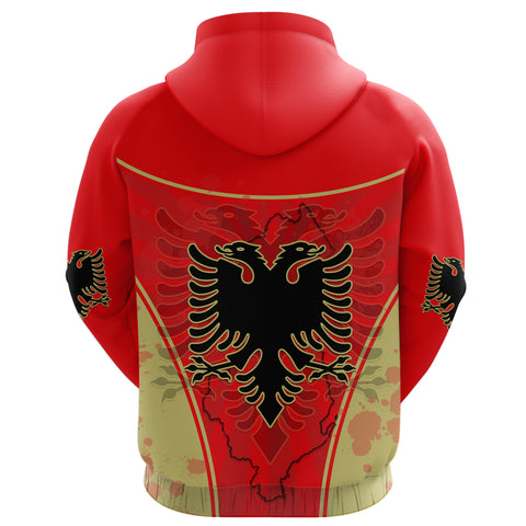 Albania Zip Hoodie Circle Stripes Flag Version Back | 1sttheworld