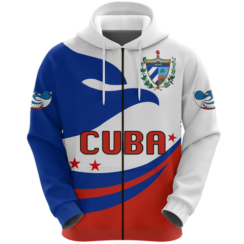 Image of Cuba Hoodie Zip Proud Version Front | 1sttheworld