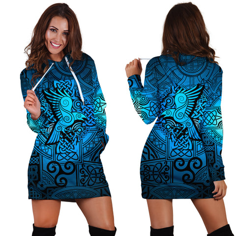 Viking Hoodie Dress Raven Odin Celtic Cyan A31